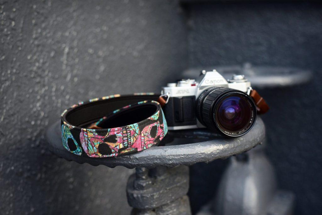 funky skull imo camera strap